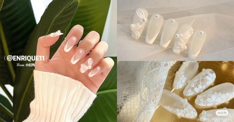 2021新娘美甲推薦!5款「白色系」光療造型,法式蕾絲、水晶冰塊...這款男人看到就想娶回家